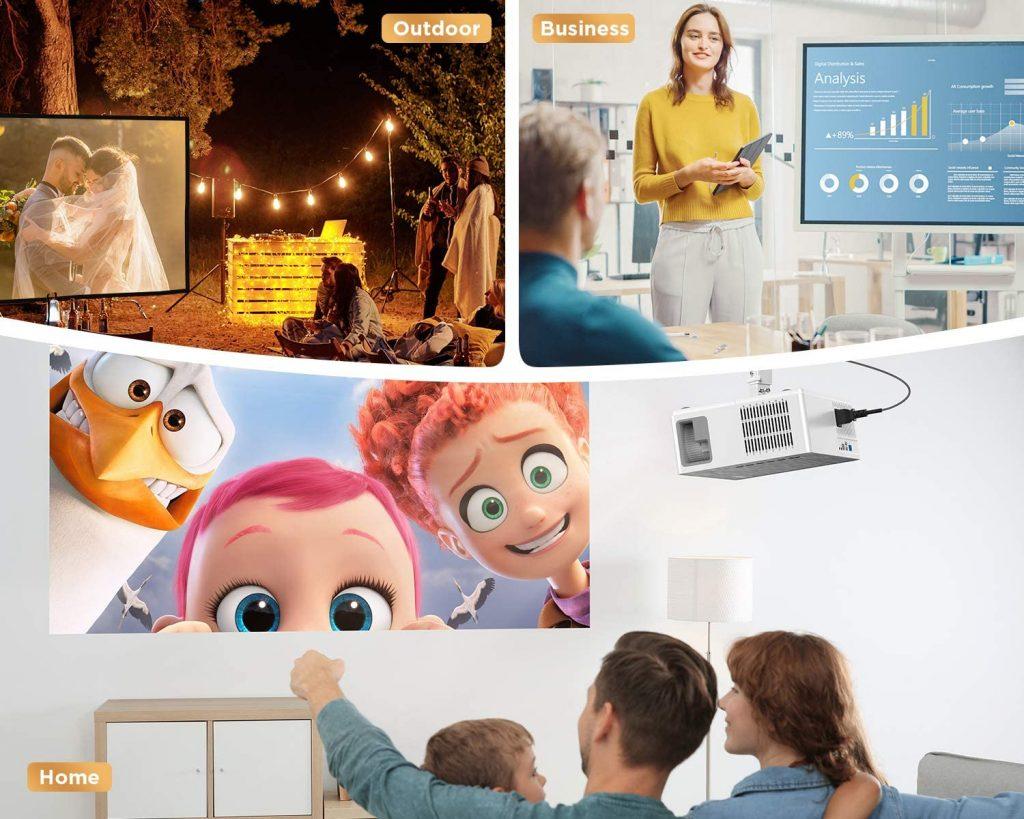 Bomaker Vidéoprojecteur Full HD Native 1080P Projecteur vidéo LED 300 Pouces