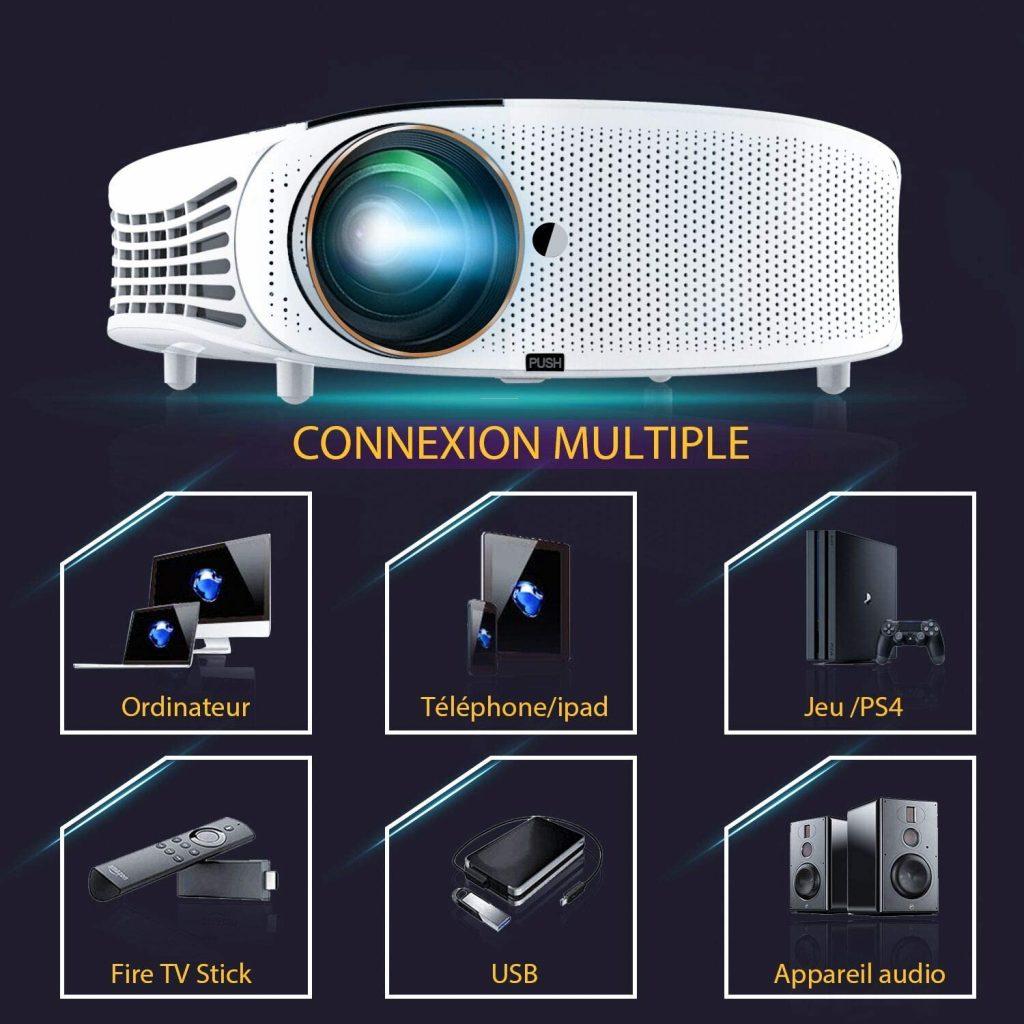 Videoprojecteur, ELEPHAS Rétroprojecteur Full HD Projecteur 5500 Lumens